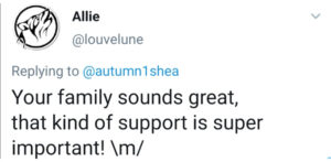 Tweet which reads 'your family sounds great, that find of support is super important!'
